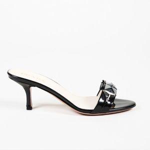 Prada Beaded Jeweled Patent Leather Heeled Slides
